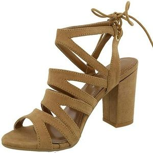 TOP Moda Tan Cut Out Chunky Heels - size 9
